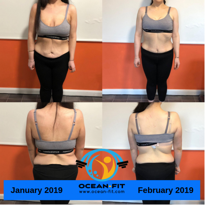 Lucy joined the programme after losing 7 stone  throughout 2018. She wanted to join Ocean Fit to tone up her figure AND she has done just that! Before Ocean Fit she had never been to a gym or in a fitness environment. We are really please she enjoyed the programme so much that she has joined us as an official member!
